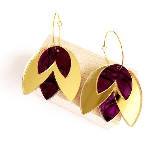 Acrylic Tulip Hoops - Gold Mirror + Swirly Purple