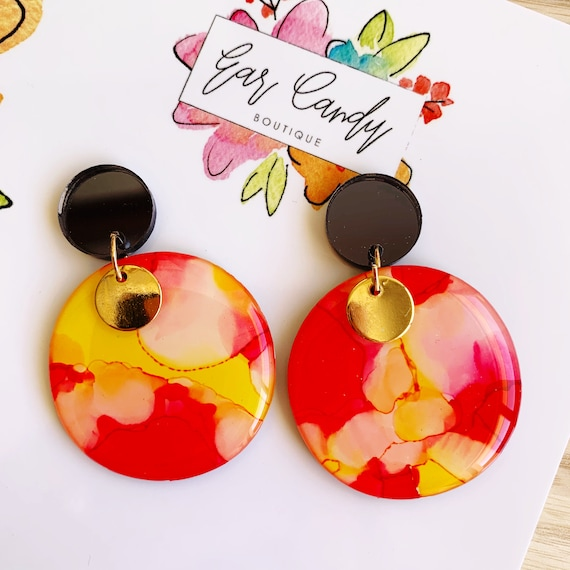 Red + Yellow Ink + Resin 4.5cm Drop Earrings