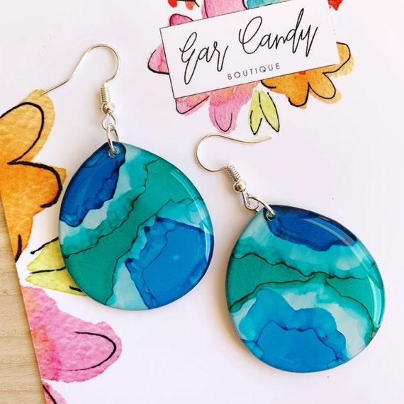 Turquoise Ink + Resin 3.8cm Hook Drop Earrings