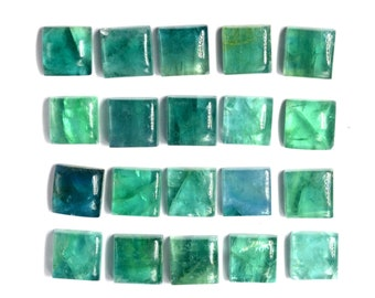 Fluorite 12mm Square Flat back Natural Fluorite Stone Cabochon Green Fluorite Cabochon Loose Gemstone For Jewelry Making (12Cts)