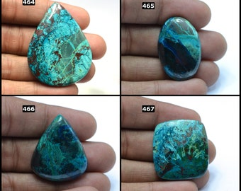 44x27x3 Chrysocolla Azurite hand polished #G9408 Flat Back cabochon azurite cabochon natural chrysocolla cabochon