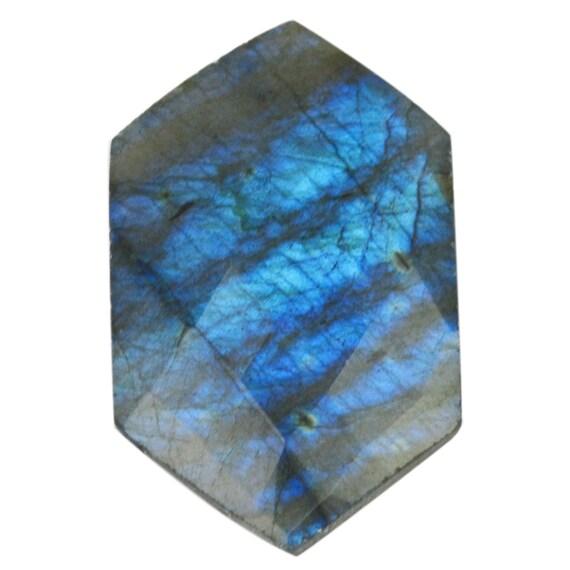 1 Pcs incroyable naturel Labradorite Cabochon Flash bleu 24x37mm forme fantaisie pierres précieuses en vrac 38,60 Cts