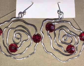 Handmade Wire Rose Earrings