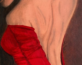 Lady in Red - Original Oil Painting on Paper Mounted and Framed