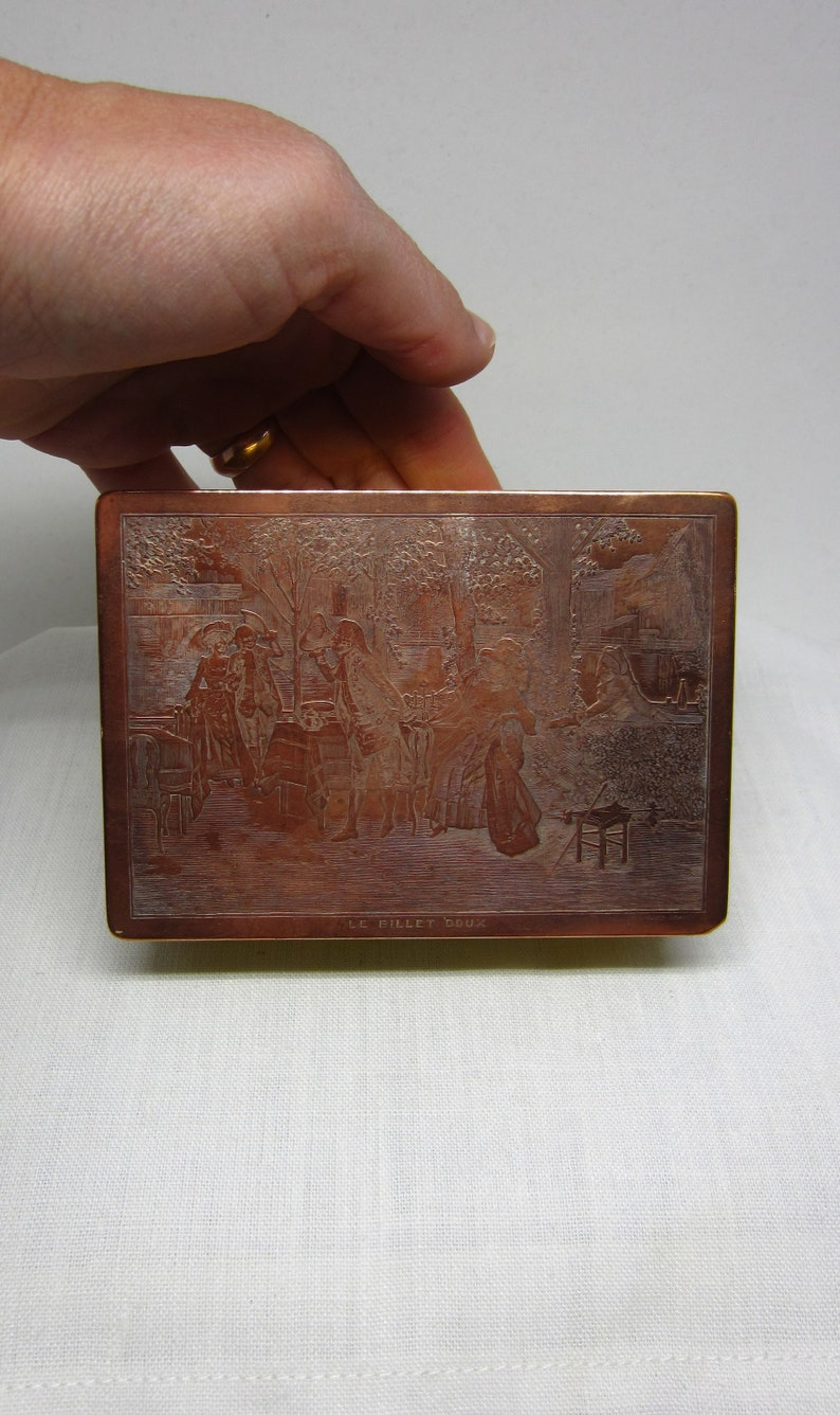 Gerard France Victorian gift Antique French Hammered Brass Wood and Engraved Copper Plate Trinket  Ring box Le Billet Doux Love Letter P