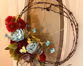 Reclaimed barbed wire wreath