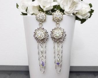 Long Bollywood Earrings Australian Seller Antique Silver Boho Chandelier Earrings Boho Gypsy Witch Tribal Hippy Stevie Style Earrings