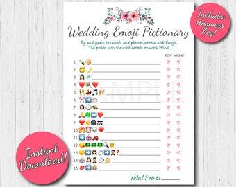 Wedding Emoji Pictionary Bridal Shower Game, Emoji Bridal game, Floral Bridal Games, Emoji Pictionary shower game, Instant Download