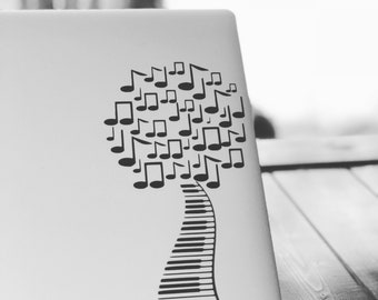 Piano Music Tree Computer Decal