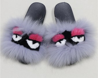 Monster Raccoon Fur Slides