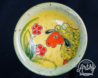 Ceramic Trinket Dish with Sheep and Floral Motif, Vintage