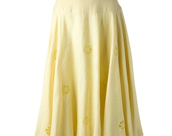 0459c05d6 Céline 80s yellow linen circle skirt