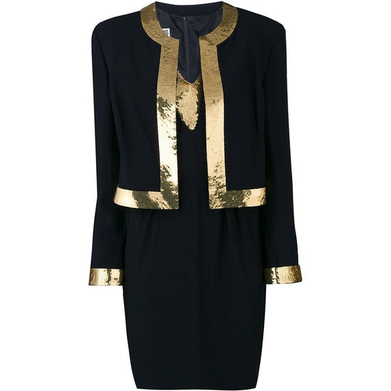 Moschino 90s gold sequinned hems black suit