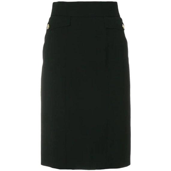 Chanel 90s black pencil skirt