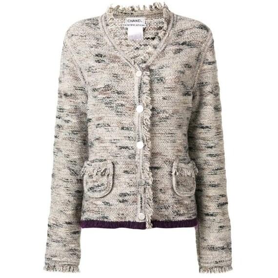 Chanel 90s beige fringed jacket