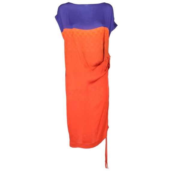Dries Van Noten 90s blue and orange dress