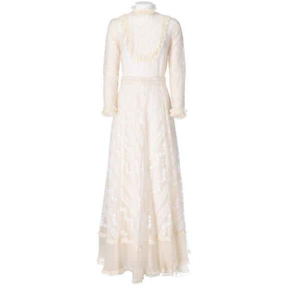 70s ivory embroidered wedding dress