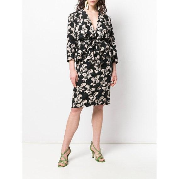 Yves Saint Laurent 70s feathers print skirt suit - image 2