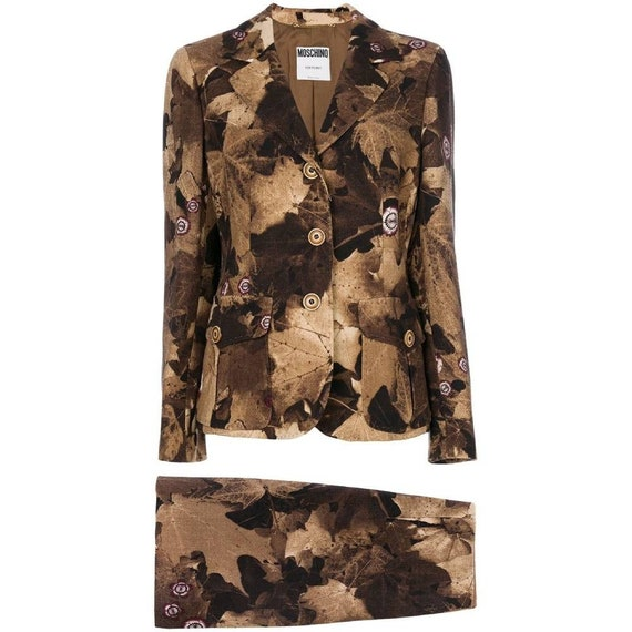 Moschino 90s brown floral pattern suit