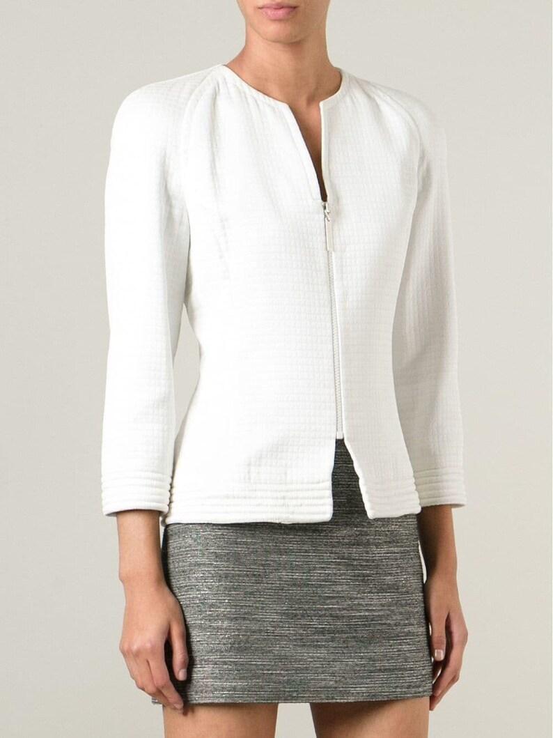 Jean Louis Scherrer 90s white silk jacket