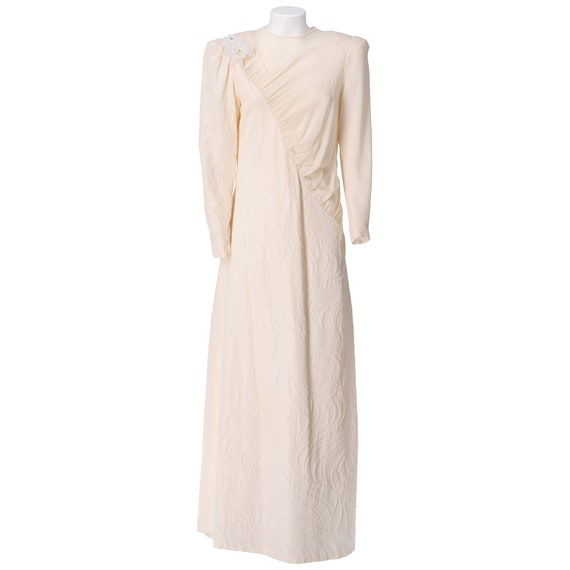 80s tailored jacquard wedding dress