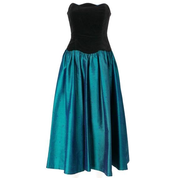 Laura Ashley 70s velvet and shantung dress