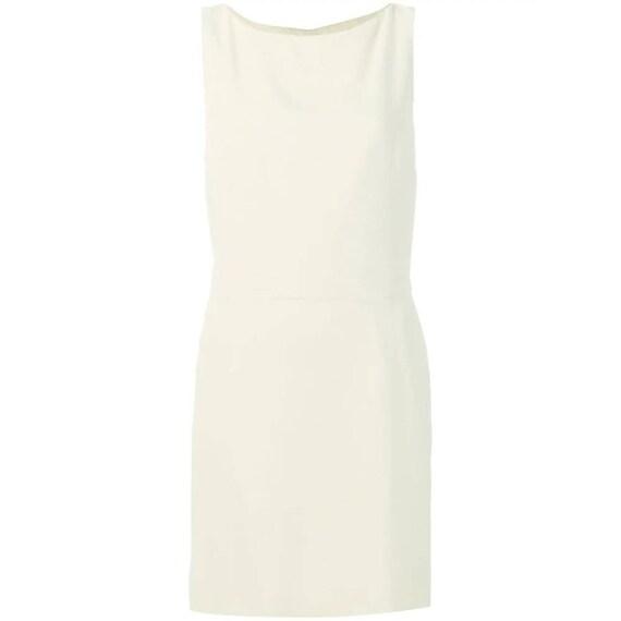 Moschino 90s cream short bow dress