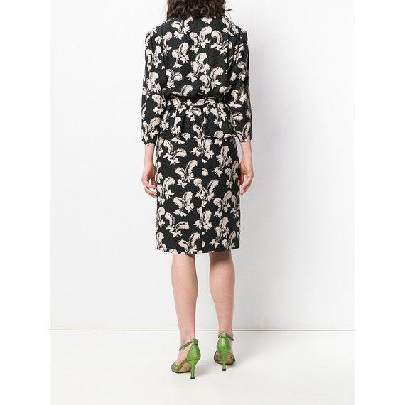 Yves Saint Laurent 70s feathers print skirt suit - image 3