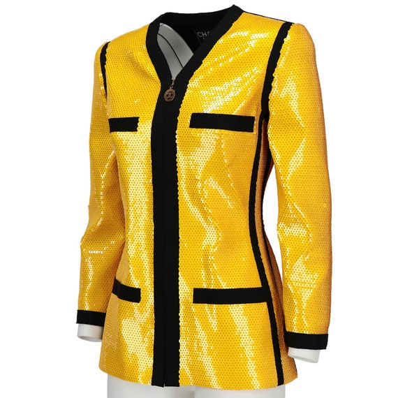 Chanel 90s yellow sequined Jacket - image 2