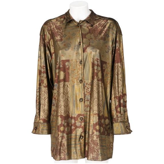 Krizia 80s gold lamé shirt