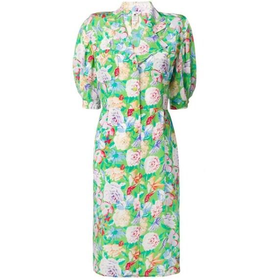 Ungaro 90s floral shirt dress