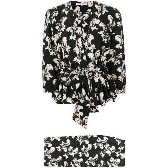 Yves Saint Laurent 70s feathers print skirt suit - image 1