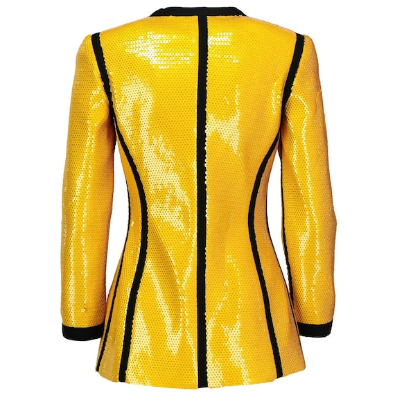 Chanel 90s yellow sequined Jacket - image 4