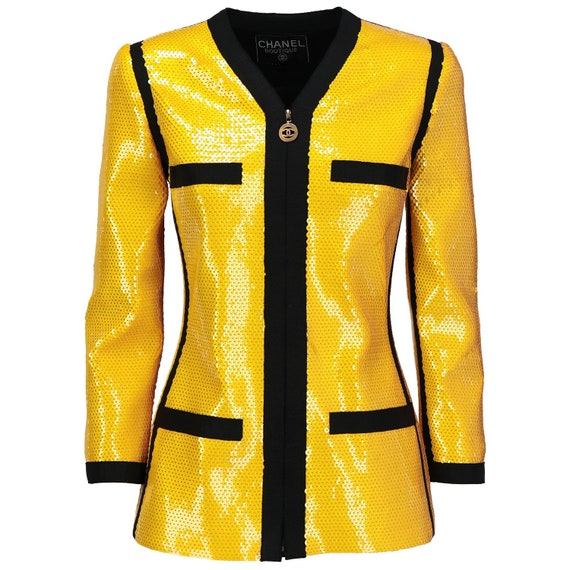 Chanel 90s yellow sequined Jacket - image 1