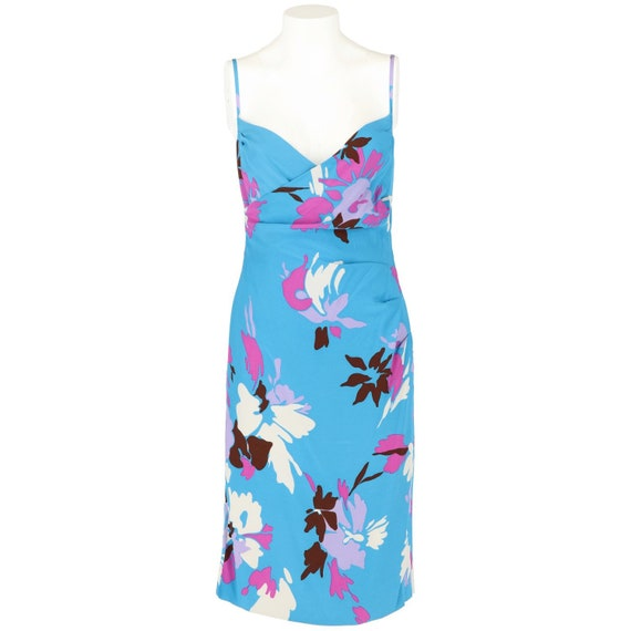50s floral light blue dress