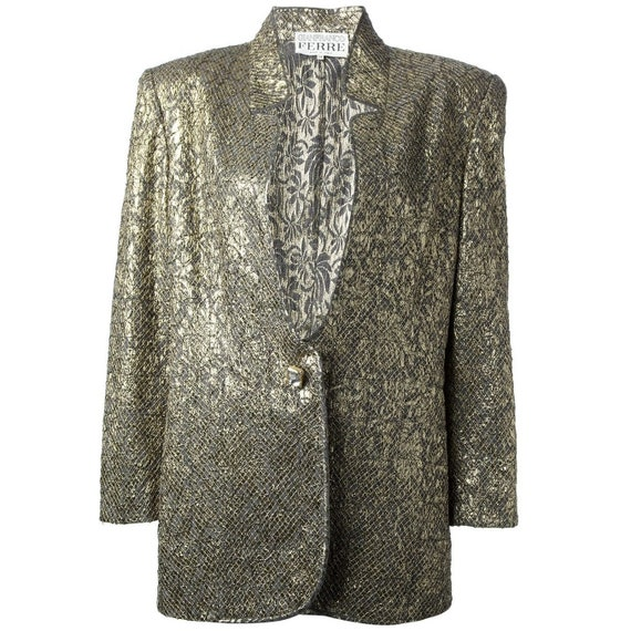 Gianfranco Ferré 80s gold jacquard skirt suit