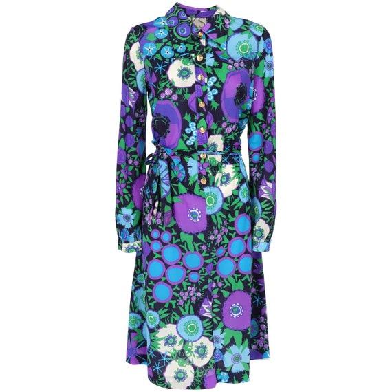 Ken Scott 70s floral chemisier midi dress