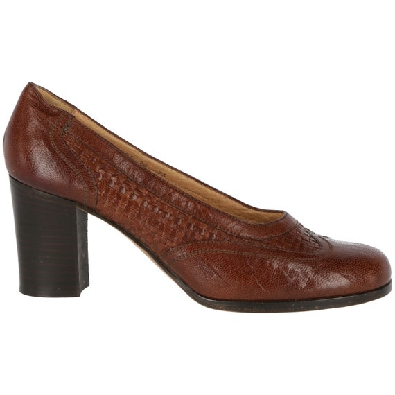 Braided leather 70s heeled shoes