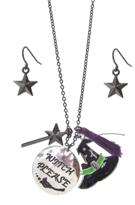 Witch hat and Broom Necklace and Earrings Set.