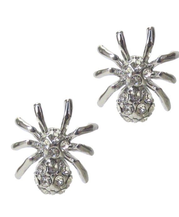 Crystal spider earrings