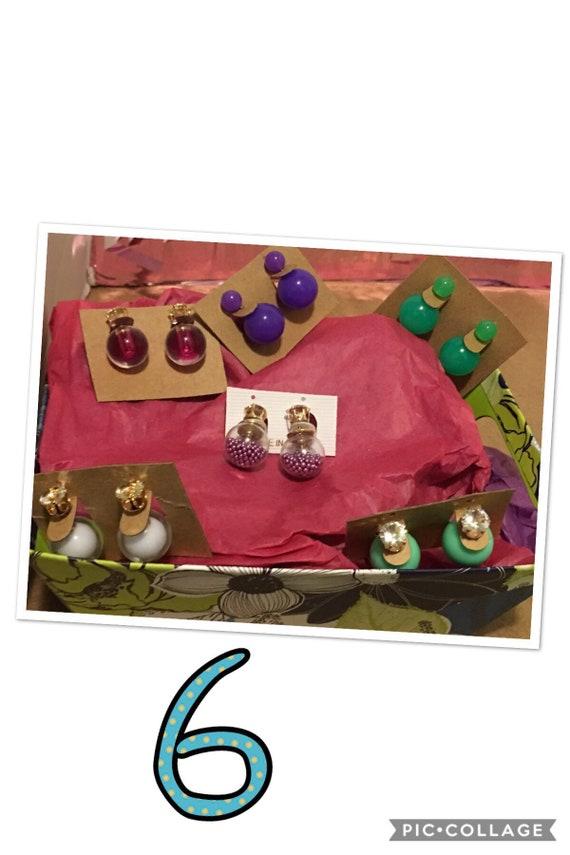 Bundle of double studded earrings