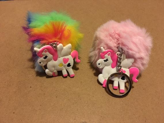 Unicorn Fuzzy Ball Keychain