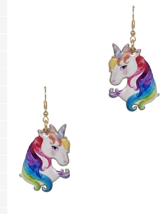 Exotic unicorn Earrings and Bangle Set