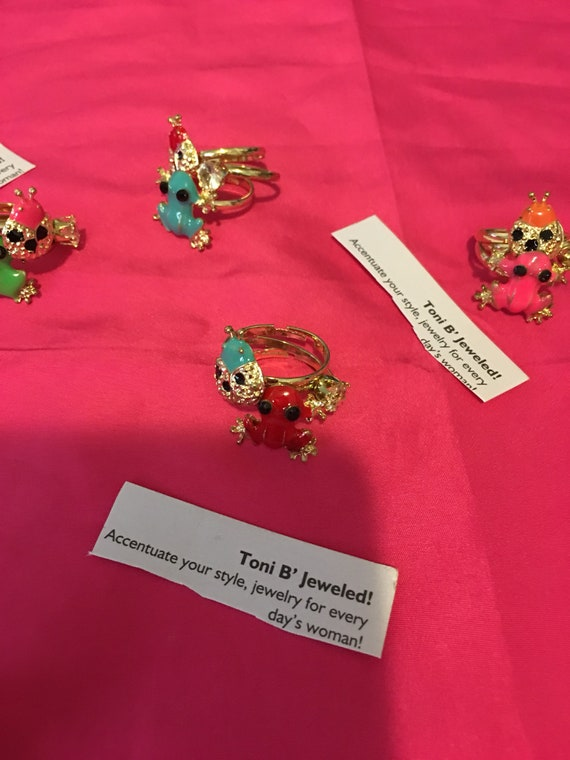 Lady Bug and Frog Ring