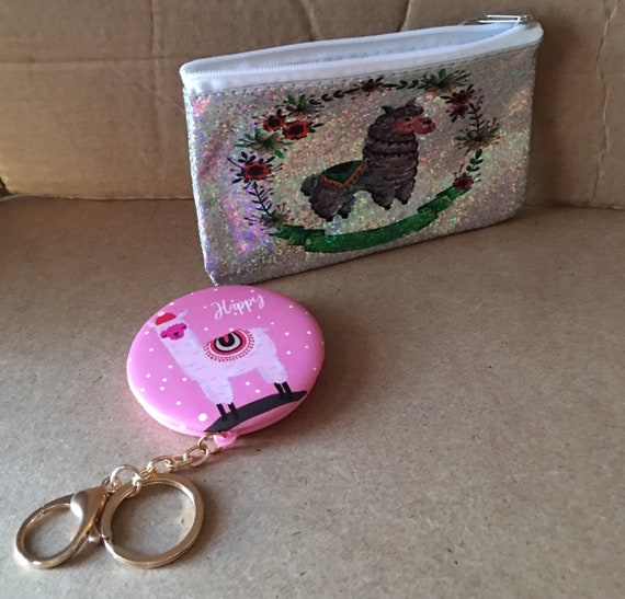 LLAMA makeup bag and mirror set