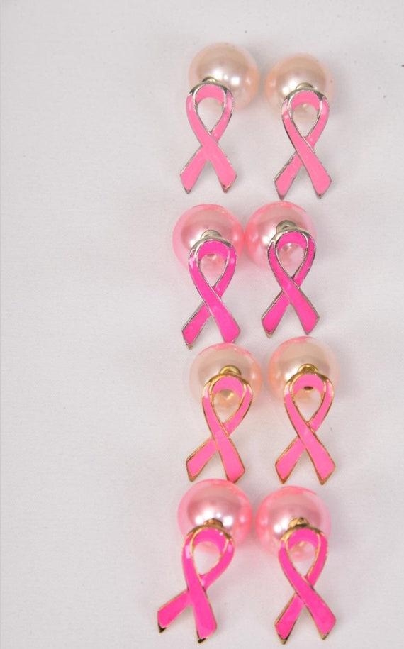 Pink Ribbon Double Studded Earrings