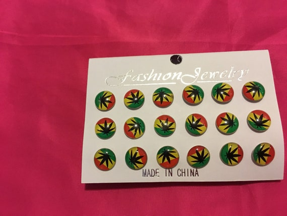 Marijuana Stud Earrings Red,yellow and green colored Earrings
