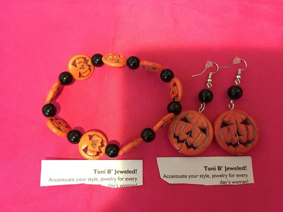 Pumpkin bracelet earrings set