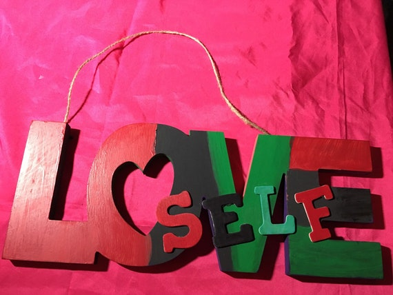 Painted Love wooden sign