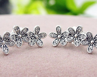 925 Sterling Silver Dazzling Daisies Daisy Cluster Earrings Free UK Post